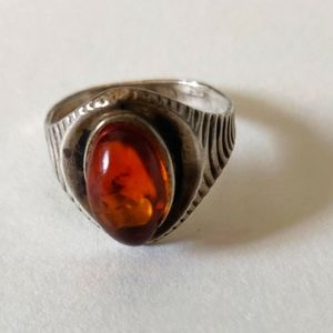 Sterling Silver Natural Russian Amber Vintage Ring